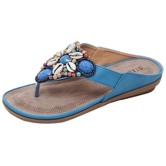 5dd61e64c0 Verão Novos Sapatos Baixos Bead Bohemia Praia Feminino Flip Flops Mulheres  Chinelos de Lazer de Salto