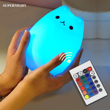 SuperNight Cartoon Cat LED Night Light Remote Control Touch Sensor Colorful Silicone USB Children Kids Baby Bedside Table Lamp