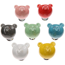 1Pc Colorful Ceramic Bear Knobs Drawer for Children Dresser Cabinet Blue Red Pink Kitchen Cupboard Handle Home Decor