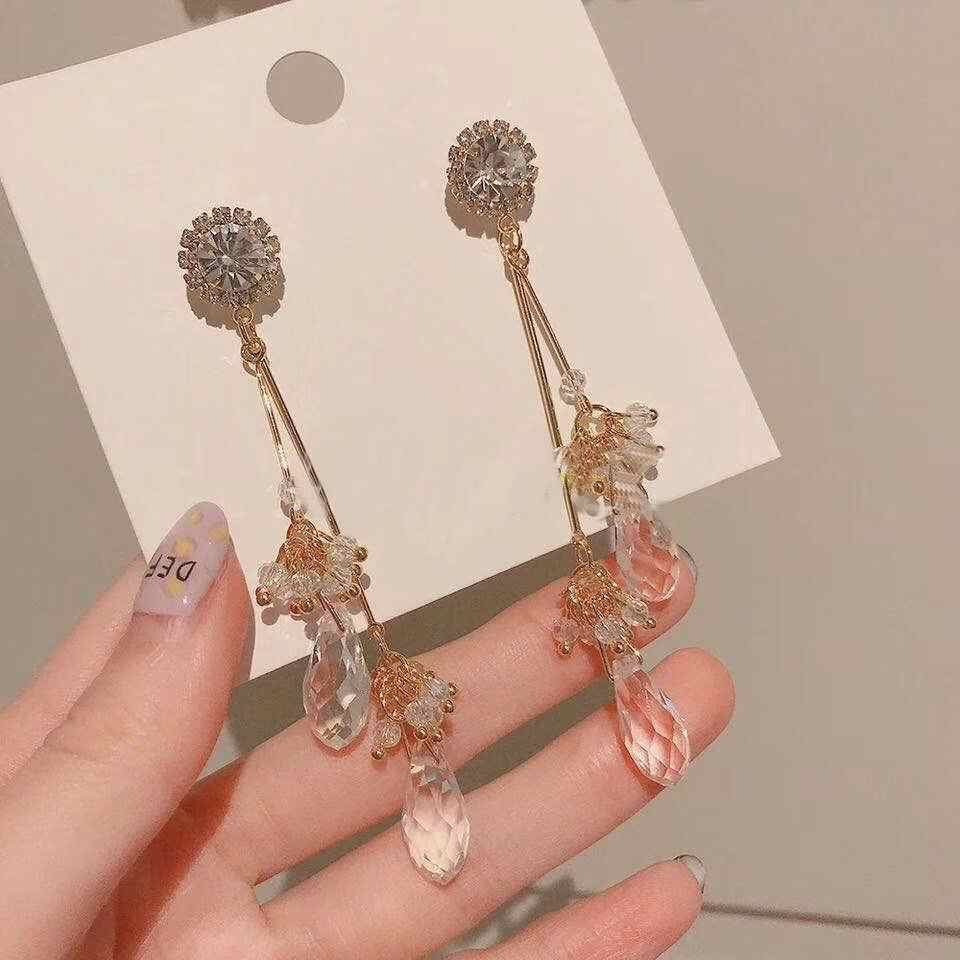 MENGJIQIAO 2019 Korean New Water Drop Crystal Tassel Long Earrings For Women Luxury Clear Rhinestone Flower Dangle Pendientes
