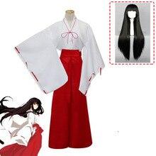 Anime Inuyasha Kikyou Cosplay Halloween Costumes Kikyo Wigs Women Japanese Kimono Set Black Long Hair Platycodon COS Clothing