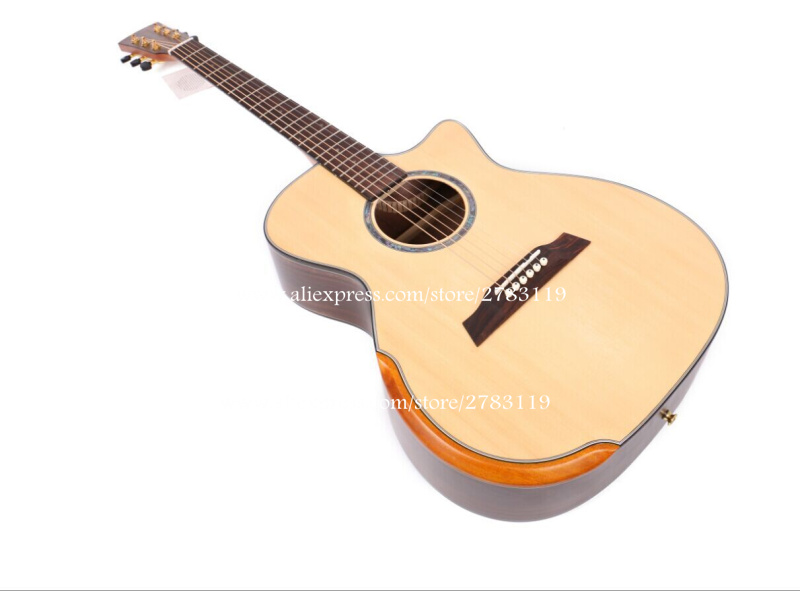 40 cutaway acoustic guitar solid spruce top rosewood body guitarra eletrica with lcd pickup. Black Bedroom Furniture Sets. Home Design Ideas