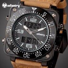 Мужские часы от ведущего бренда, роскошные аналоговые цифровые военные часы, мужские квадратные тактические кожаные часы для мужчин, мужские часы