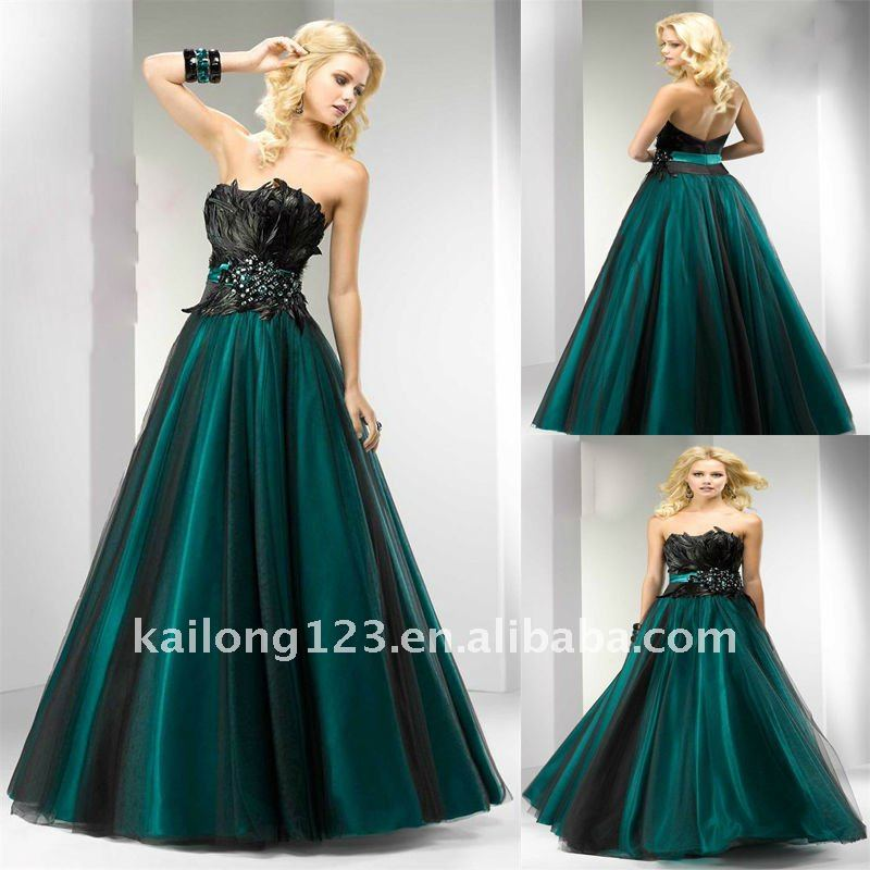 Aliexpress.com : Buy A line Strapless Floor length Black Teal ...