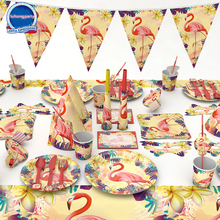 84pcs Flamingo Theme paper cup napkin plate spoon horn for Kids Birthday Party Decoration 6people use Set