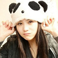 free shipping panda design winter cap hat lady's snow cap