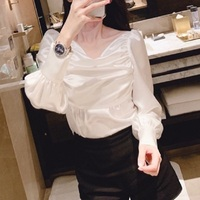 CHICATWILL Summer Designer French style office lady pleats white blouses women puff sleeves tops blusas