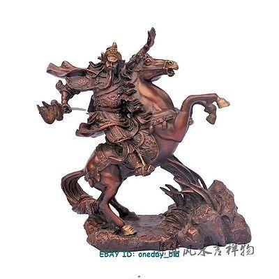Grand laiton petit chinois bronze Dragon guerrier Guan Gong/Yu équitation cheval Statue Figure 9.5