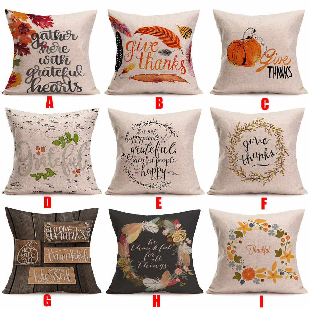 Happy New Year Pillowcase1 pc Pillow cover Happy Fall Thanksgiving Day Soft Linen Pillow Case Cushion Cover Home Decor