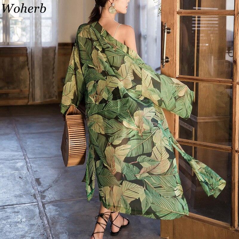 Woherb Summer 2020 Bohemian Chiffon Shirt Women Sunscreen Kimono Cardigan Perspective Long Blouse Leaves Print Beachwear 21753