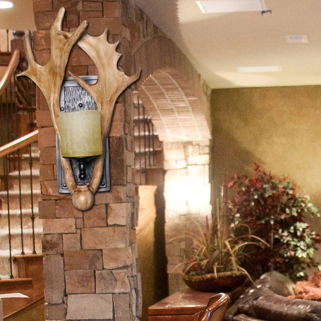 loft style american industrial vintage antler wall lamp bedroom hotel aisle decoration wall lamp 450
