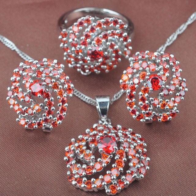 Delicado Red Cubic Zirconia 925 Anillos de Plata Para Las Mujeres Conjuntos de Joyas Collar Colgante Pendientes de Clip Envío Libre TS001