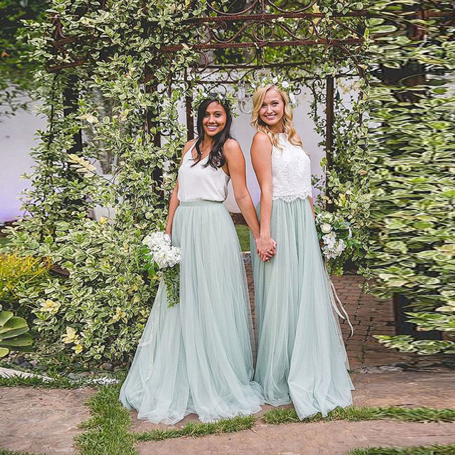 Pretty Mint Green Long Tulle Skirt High Waist A Line Bridesmaid Skirt for Wedding  Party Spring Summer Style Saias Jupe Faldas-in Skirts from Women s ... 21023cfa8bd4