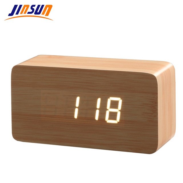 best table clock led jinsun best highend alarm clocks thermometer wood wooden led digital voice table clock high end