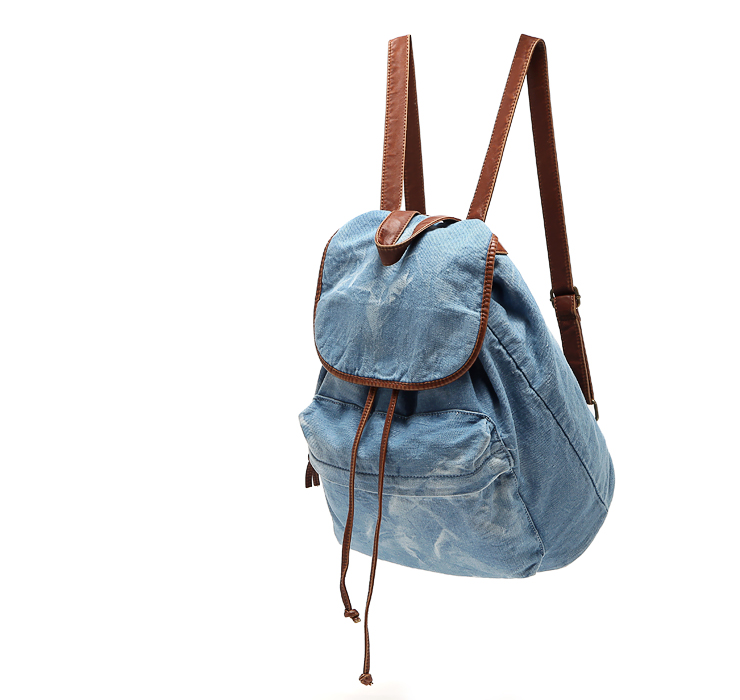 New fashion Vintage backpacks water wash denim soft canvas ...