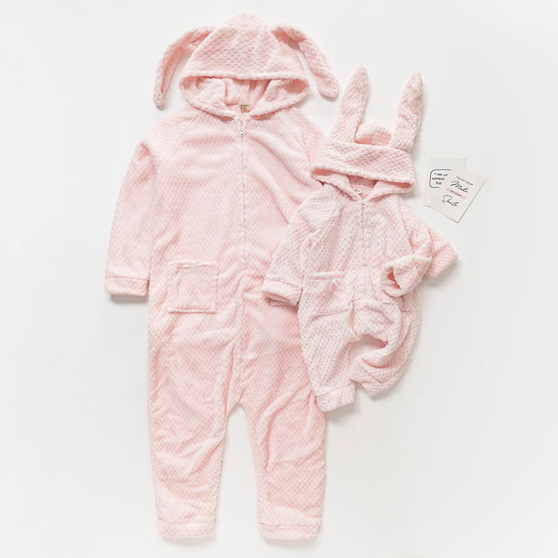 Winter Family Matching Pajamas Christmas Clothing Coral Fleece Mother and Baby Daughter Clothes with Rabbit Hat Warm Clothing