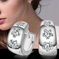 2015 Hot Silver Plated Gypsophila Rhinestones Inlaid Ear  Hoop Huggie Earrings Jewelry Gift