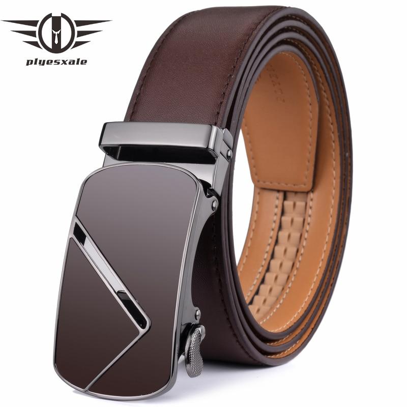 Fashion Men/'s Genuine Leather Belt Men Automatic Buckle belt Ratchet Waistband