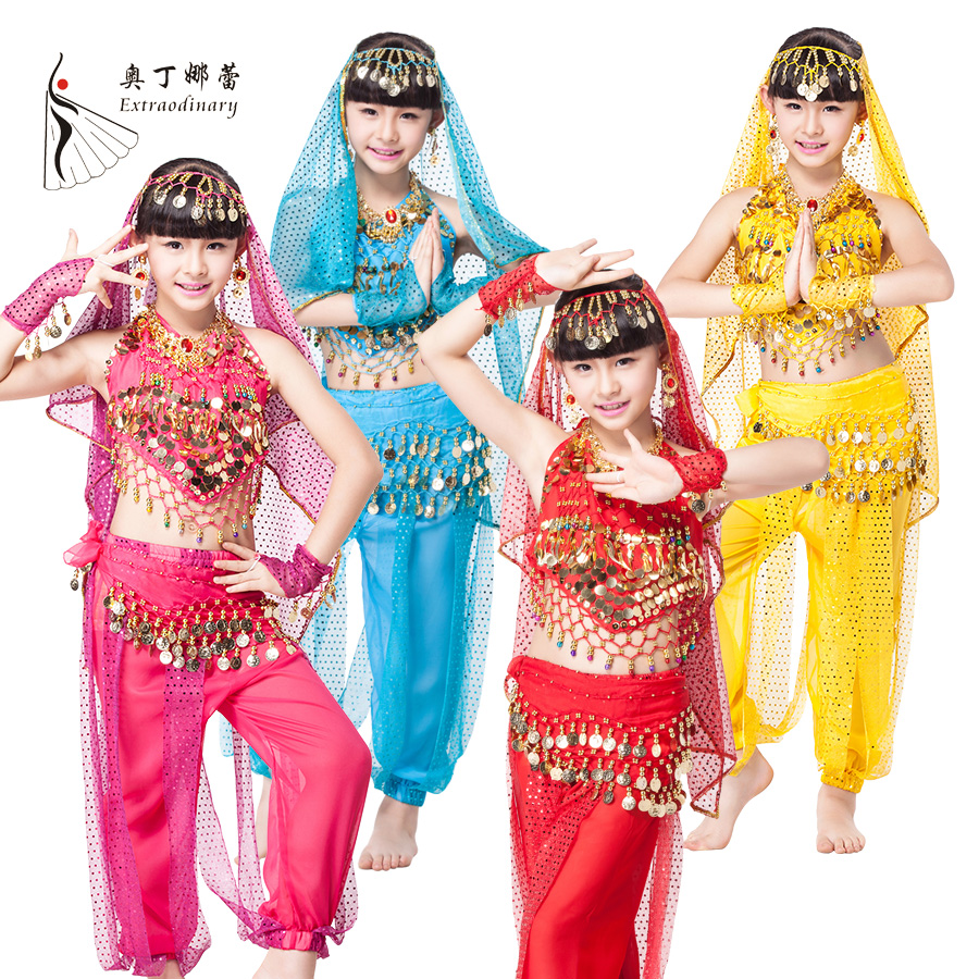 Sari Children Indian Dance 6-piece Costume Set (Top, Belt, Pants and Head Pieces,2 wristband) Bollywood Dance Costumes for Girls индийский костюм для танцев девочек