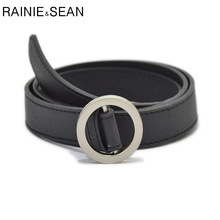 RAINIE SEAN Leather Women Belt Black Thin Smooth Buckle Belts For White Pink Brown Coffee Silver Burgundy Ladies