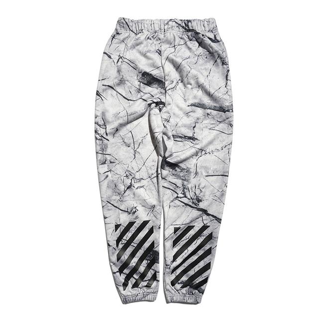 Otoño e invierno de marea blanca de mármol patrón casual pantalones de algodón sueltos pantalones sueltos hombres mujeres sarga pantalones de Chándal basculador