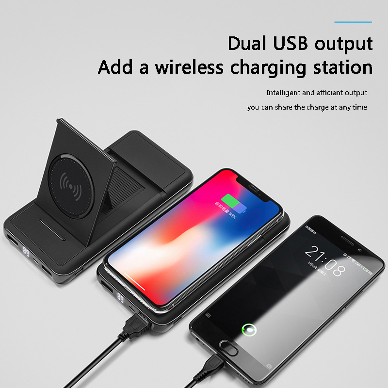 Powerbank New digital display stand wireless charging mobile power 20000mAh Power Bank wireless charging for iphone x 8plus
