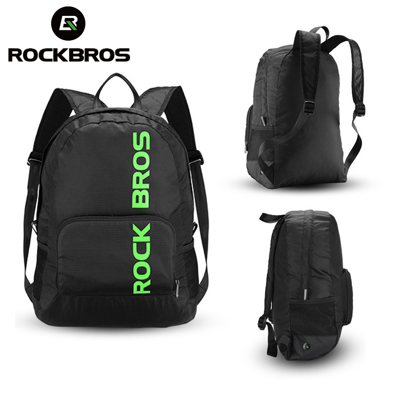 ROCKBROS Foldable Rainproof Outdoor Hiking Bags Portable Sports Backpack Camping Cycling Bags Men Women Package Travel Bag Black