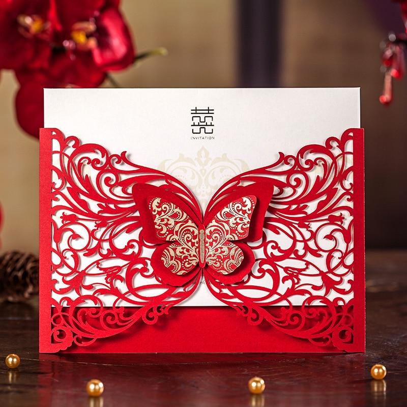 3D Butterfly Laser Design Red Wedding invitation Card,Laser ...
