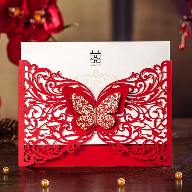 3d butterfly laser design red wedding invitation cardlaser 3d butterfly laser design red wedding invitation cardlaser invitation cards 50pcslot stopboris