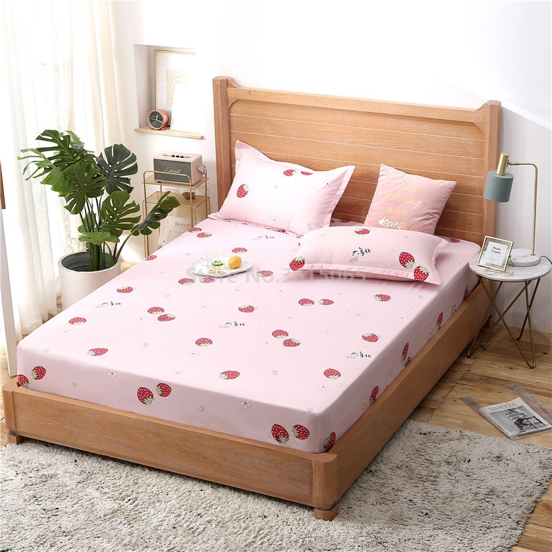 2019 Pink Strawberry Printed Fitted Sheet 1pcs Polyester Cotton Bed Sheet with Elastic Band Twin Full Queen King Size Bedspreads