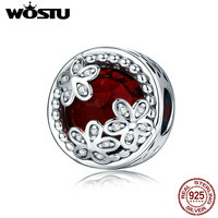 WOSTU Authentic 925 Sterling Silver Radiant Daisies Charm Beads Fit Original Pandora Bracelet Fashion DIY Jewelry