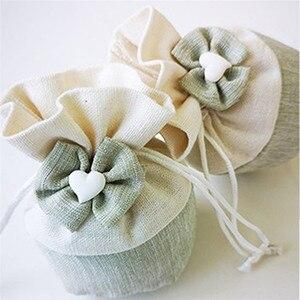 Pościel torby torby do pakowania biżuterii Bowknot serce etui kosmetyczne urodziny prezent ślubny torba do pakowania dostaw worek ze sznurkiem