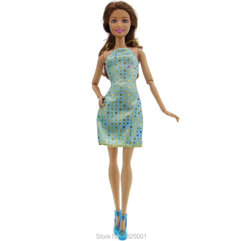 2x Item   1x Mini Dress Golden Stars Pattern Wedding Party Gown + 1x Blue  High Heel Shoes Clothes For Barbie Doll Accessories-in Dolls Accessories  from Toys ... 9b4ddf7248c1