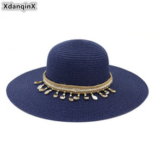 XdanqinX 2019 New Summer Womens Sun Hat Elegant Foldable Straw Hats Oversized Visor Beach Headwear Decoration Cap For Women