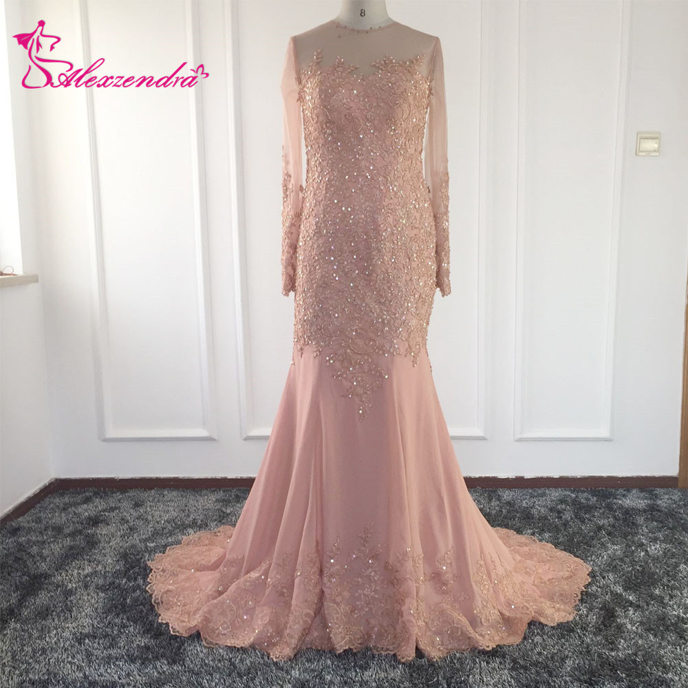 Real Photos Sexy Mermaid Lace Evening Dress Light Pink