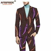 18 African clothes fashion men's clothing latest coat pant designs suit set plus size print cotton wax high quality A731601