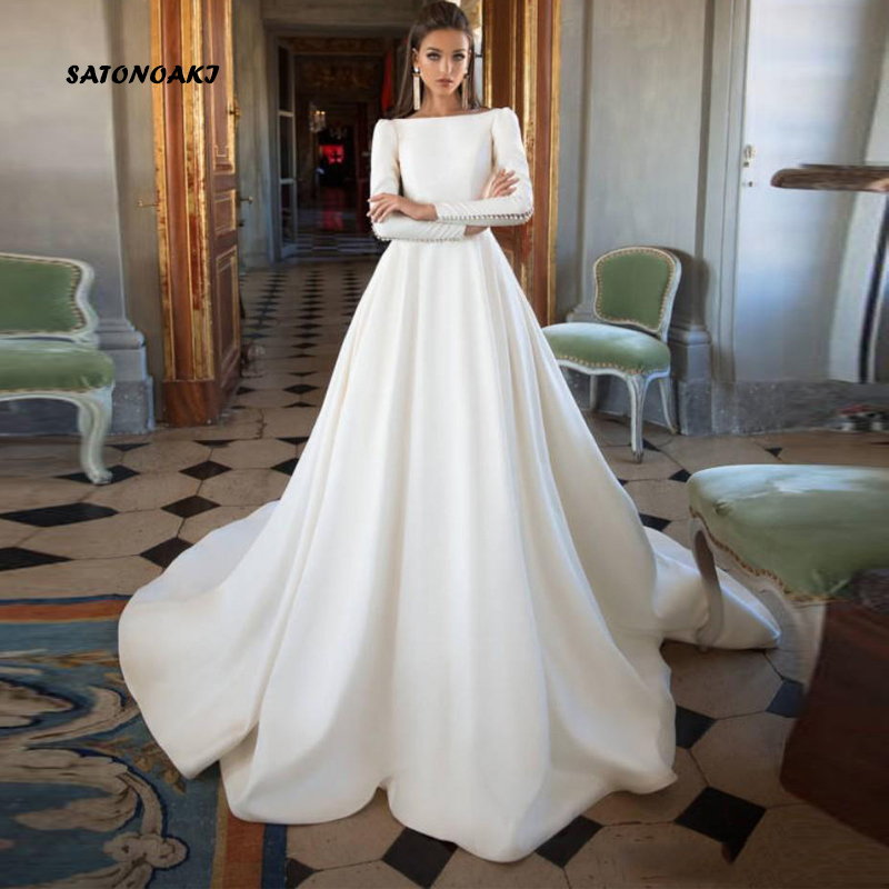 SATONOAKI Simple 2020 Wedding Dresses A Line Satin Backless Sweep Train Long Sleeve Modern  Bridal Gowns  Custom Made Plus Size