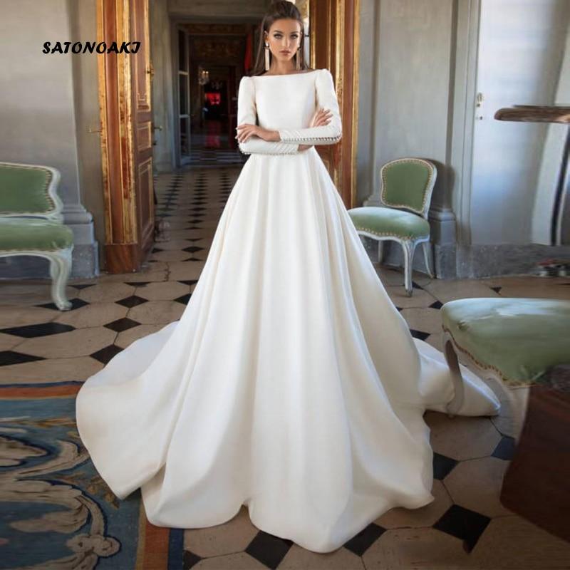 SATONOAKI Simple 2020 Wedding Dresses A Line Satin Backless Sweep Train Long Sleeve Modern  Bridal Gowns  Custom Made Plus Size