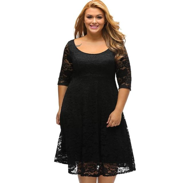 4f4cd2602f Black White Floral Lace Sleeved Fit and Flare Curvy Girls Dress Knee Length  Plus Size XXXL Dresses for Women Hollow Out Q61395