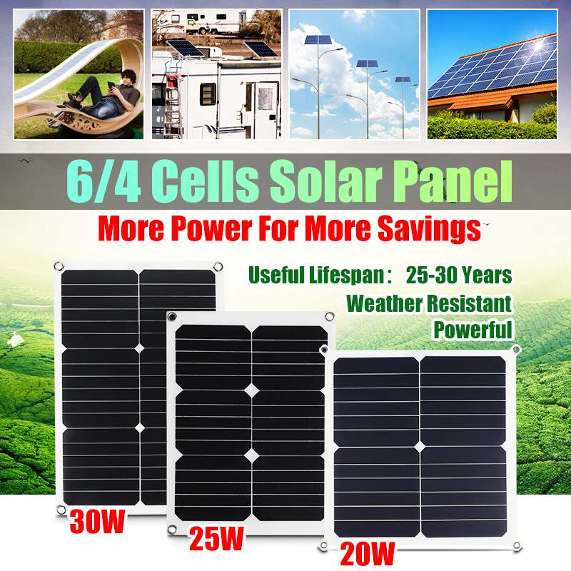 Dual USB Solar Panel 20/25/50W 5/12/18V Battery Power Charger For RV Motorhome Boat for Outdoor Camping Emergency Light