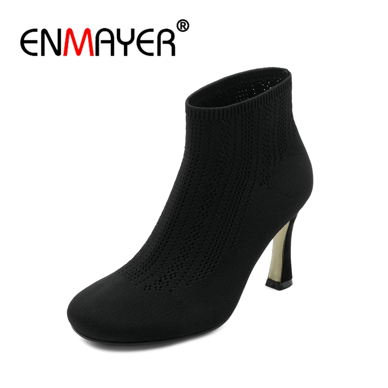 ENMAYER Suede Woman High Heels Ankle Boots for Women Winter Boots Size 34-46 Zippers Motorcycle Boots Square Toe Hoof heel CR645