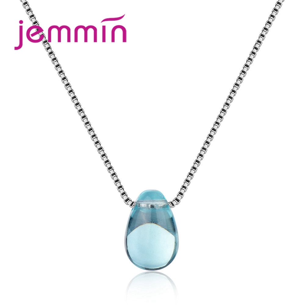 Latest Box Chain Necklace With Clear Waterdrop Cubic Zircon Pendant 925 Sterling Silver Fashion Wedding Jewelry Wholesale