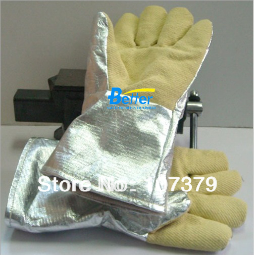 ФОТО New Welding Glove 500 Centigrade Degree 100% Aramid Fiber Aluminium Foil Caston  Heat Resistant  Work Glove