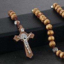 c199ce2cee45 Retro Rosario de madera collar de perlas para mujeres regalo Saint Benedict  Cruz