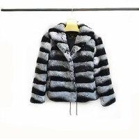 2019Women's New Natural Rex Rabbit Fur Jacket, Real Rex Rabbit Fur Lapel Short Jacket Warm Fashion Casual European Women's Stre