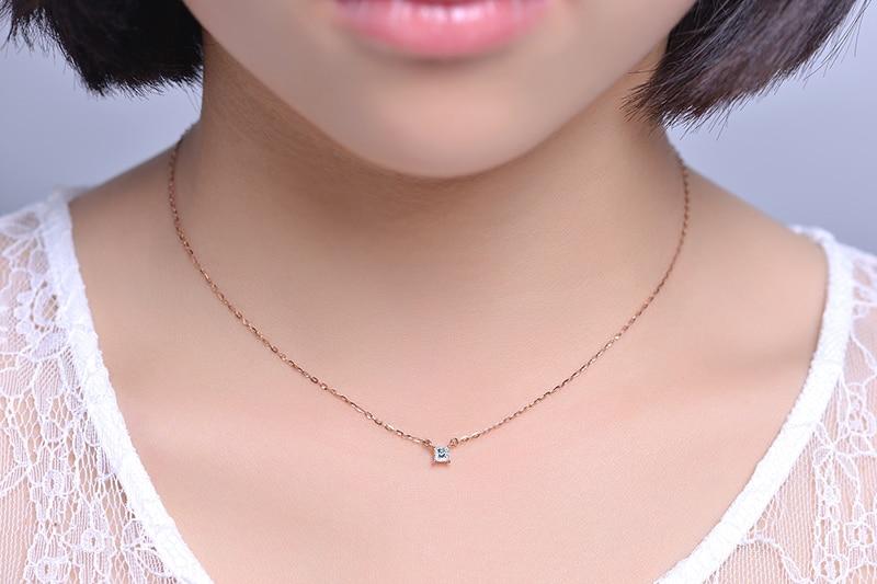 Gargantilha Projeto ZOCAI 0.09 CT Certified H/SI Diamond Link Colar 18 k Ouro rosa (Au750) D80009T - 6