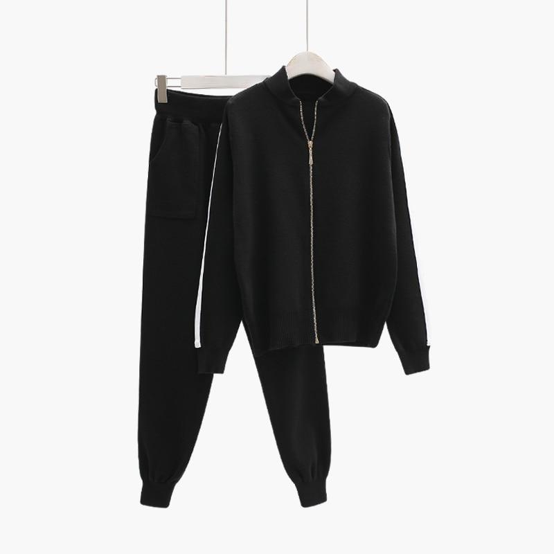 2018 new winter women 2 pieces sweater set zipper thicken black cardigans fashion clothing knitwear coat 0.83KG