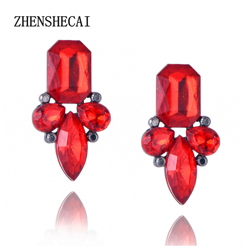 High Quality Retro Exquisite Women Red Earring Acrylic Crystal Gem Cubic Zircon Stud Earrings For Women brincos jewelry e0225