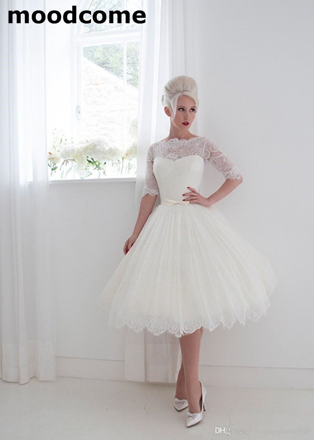 1950's Style Wedding Dresses Bateau Lace Ribbon Cover Button Back Spring Tea Length Bridal Gowns Lace Half Sleeves