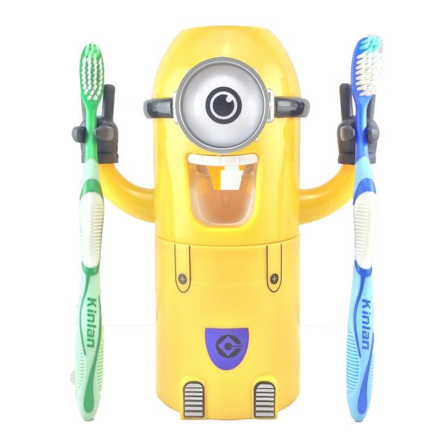 Automatic Toothpaste Dispenser Cute Plastic Bathroom Accessories Set Toothbrush Holder